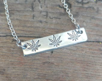 Pot Leaf Bar Necklace | Marijuana Jewelry | Hemp Jewelry | Stoner Moms | 420 Mom | Cannabis  Gifts | weed gifts | weed accessories