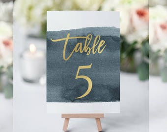 WaterColor Table Numbers, Navy Table Numbers Wedding, Table Numbers for Wedding, Table Numbers Printable,Table Numbers Template,Navy Decor