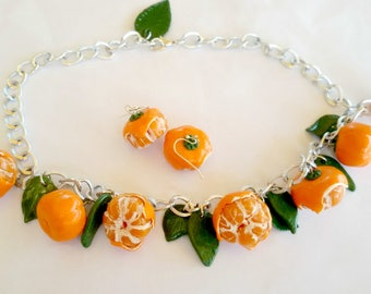 Necklace and earrings Mandarins - A handmade set of polymer clay