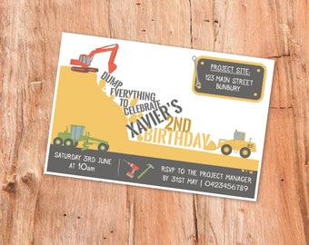 Construction Party Invite, Kids Party Invitations, Construction Party, Printable Invitation, Printable Invites, Birthday Invite, Party Decor