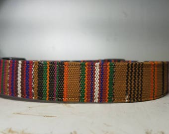 "Mustard Aztec Tribal Dog Collar - Mayan Hand Woven Fabric - Striped Ethnic Fabric -  Boho Style - Mayan textiles "" The Miranda"""