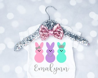 Baby Girls Personalized Peeps Easter Onesie, My First Easter Outfit, Easter Shirt, Toddler Easter Shirt, Bunny Onesie, Peeps Outfit