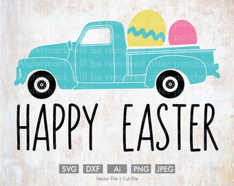 Happy Easter Old Truck - Cut File/Vector, Silhouette, Cricut, SVG, PNG, Clip Art, Download, Holidays, Retro, Easter Eggs, Spring, Cute