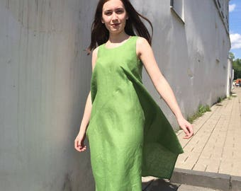 "Green linen dress ""Iwaki"""
