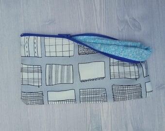 Zipper Pouch, Notebook Themed, Blue Lettered Lining, Bright Blue Zipper