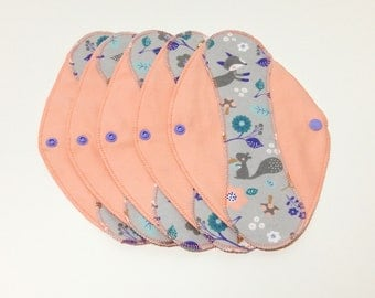 "Forest Critters on Salmon Reusable Pantyliner with Wings (9.5"") - menstrual pad; panty liner; cloth pads; cotton; washable liner; flannel"