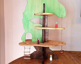 Slide to Create Treehouse Montessori Waldorf Inspired Playset for fairy, gnomes and dolls... Great for all ages.