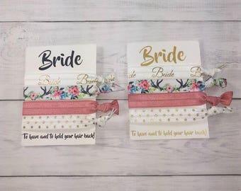 Bride Hair Ties Bachelorette Party Favors Gold Boho Floral Coral Sparkle Hair Tie Bridal Shower Gift Wedding Shower Gift Gift Beach Wedding
