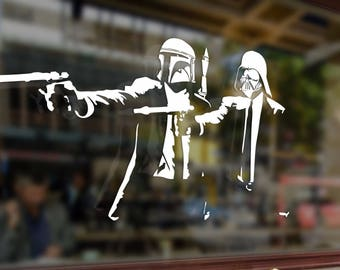 Two 2 mans with guns Stormtrooper Star Wars Vinyl Sticker Funny Decals Bumper Car Auto Laptop Wall Window Glass Skateboard Snowboard Helmet