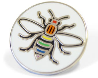 Rainbow Manchester Pride Bee Pin Badge - Hard Enamel Nickel Free Metal Brooch - Manchester Pride LGBT Madchester Hacienda LGBT Northern Gay