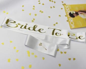 White Satin Bachelorette Sash with bow, Bridal Satin Sash, Bride To Be, Custom Sash, Bridal Shower Sash with Gold Foil Text, Bride, Model GO