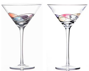 Handcrafted and Painted Martini Glasses by Sonoma Artisan, Set of 2