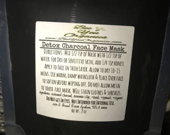 Charcoal Face Mask ~ Detox Face Mask ~ Natural Face Mask for Acne ~ Natural Face Mask for Dry Skin ~ Rejuvenate Skin ~ Activated Charcoal