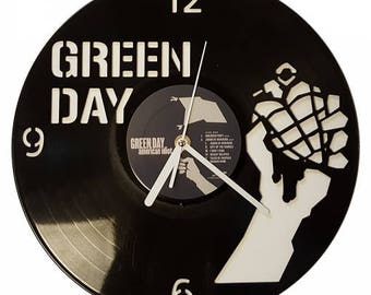 Green Day Grenade Fully Functioning Clock carved from Vinyl Album xmas gift American Idiot