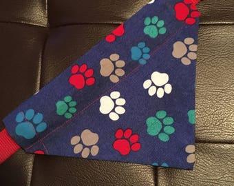 Dog bandana, over the collar dog bandana, bandana, dog, paw prints