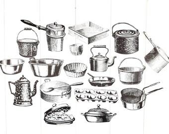 Vintage Cookware Ephemera Illustrations / Vintage Ephemera / Junk Journal Ephemera / Ephemera Pack / Snail Mail Kit / Victorian Trinkets