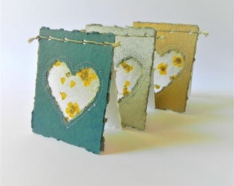 Greeting cards handmade, flowers cards set for rustic wedding, heart love valentines day cards with envelopes