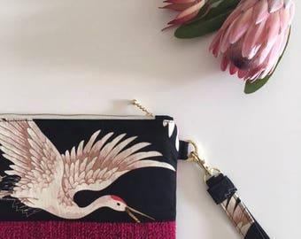 Pink Cranes Evening Clutch Bag - Wild Bird Pink Purse - Ladies Pink Clutch