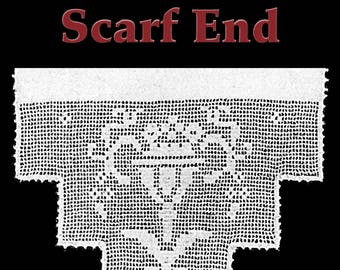 Flower Pot Scarf End Filet Crochet Pattern
