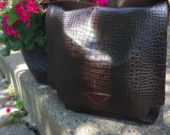 Leather messenger bag *messenger bag *leather bag *laptop bag *handbag *leather handbag*crocodile embossed cow leather