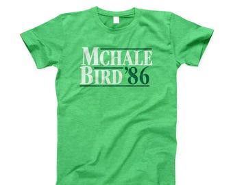 Larry Bird McHale 1986 Election Style Distressed Boston Heather Green Tee