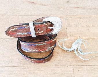 Vintage Southwestern Leather Belt / Brown Leather Belt / Size Small/Medium