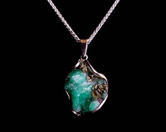 Large stunning Raw Colombian Emerald mounted in Sterling silver Pendant