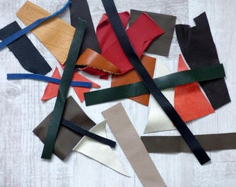 Lot of different color leather scraps