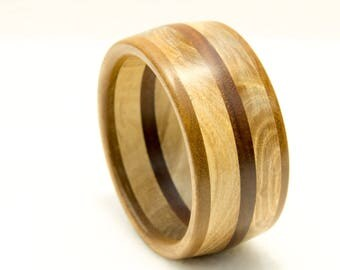 Bracelet made of 3 types of wood, turned, unique