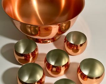 Vintage CopperCraft Guild Punch Bowl and Roly Poly Tumblers