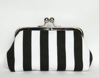 Black and White Stripe Monochrome Clutch Purse, Clutch Purse, Monochrome Bag, Bridesmaids Gifts, Bridesmaids Clutch