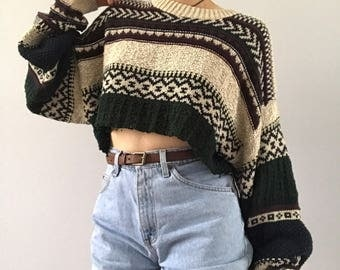 Vintage Cropped Knit Sweater