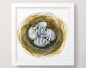 Bless Our Nest Printable Watercolor Art, Bless Our Nest Digital Download, Bless Our Nest Sign; Nest with Blue Eggs Printable Art