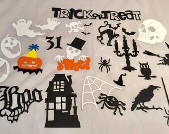 Deluxe Halloween Die Cut Assortment! - 26 Pieces - Ghosts * Spiders * Pumpkins * Skeletons * Witch * Fun Assortment!