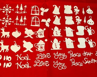 Christmas Advent Die Cuts * White Cardstock * 50 Pieces * Sizzix 655136 * Snowman * Santa * Ornaments * Noel * Trees * Reindeer and More!