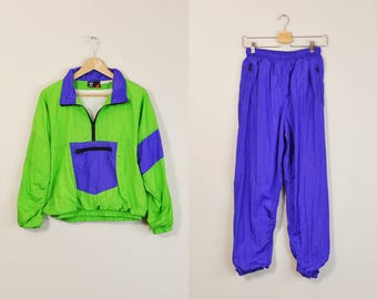 90s Track Suit, Vintage 90s Jogging Suit, Athletic Two Piece Outfit, 90s Windbreaker and Pants, 90s Jogging Set, Womens Track Suit Small Med