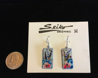 Colorful Japanese washi paper earrings, Dangle earrings, light weight earrings