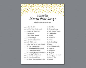Match the Disney Love Songs, Bridal Shower Games, Gold Confetti, Glitter, Wedding Shower, Instant Download, Love Songs Matching Game, A015