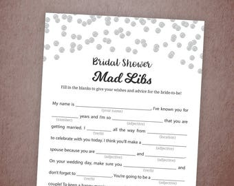 Bridal Shower Mad Libs Game Printable, Silver Glitter Confetti Bridal Mad Libs, Instant Download, Bride Advice Card, Wedding Shower, A003