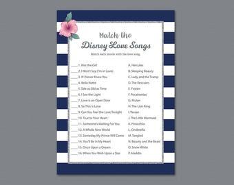 Kate Spade Match the Disney Love Songs Printable, Bridal Shower Games, Bachelorette Party, Wedding Shower, Silver Blue White Stripes, A019