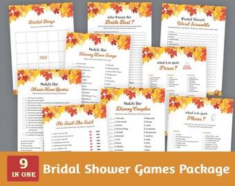 Fun Bridal Shower Games Package, Autumn Fall Bridal Shower Printable, Plants, Leaf, Winter, Unique Games Pack, Shower Bundle, BSPKG, A021