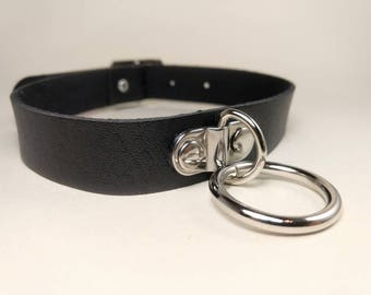 Black O-Ring Choker Faux Leather (Day Collar, Pastel Goth, Kitten Play, DDLG, BDSM)