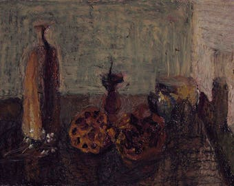 still life with a wooden candlestick