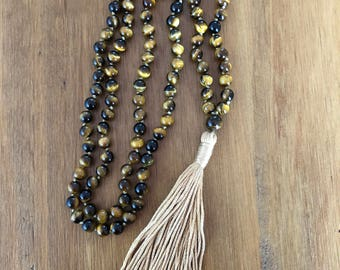 Hand Knotted 'Tiger's Eye' Mala Necklace or Wrapped Bracelet