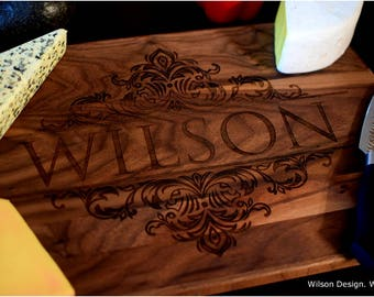 Cutting Board, Large Rounded Sides w/ Juice Groove. Laser Engraved. Walnut Wood