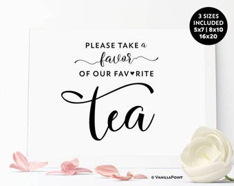 Tea Favors Wedding Sign Bridal Shower Baby Shower Tea Party Favors, Wedding Tea Favors Sign Wedding Tea Bag Favors, Tea Favors Bridal Shower