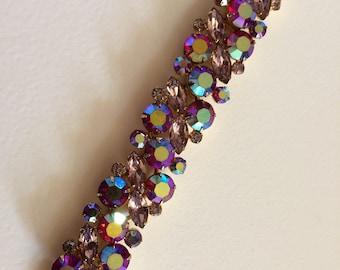 Stunning D & E Juliana Pink AB and Pale Pink Rhinestone Bracelet