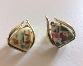 Vintage Coro Multicoloured Confetti Lucite Clip On Earrings