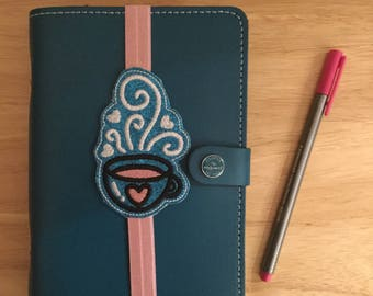 Coffee/tea cup planner band, bookmark for filofax, journal and diary!