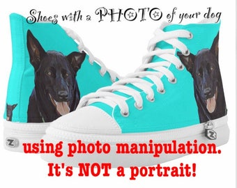 Custom Pet Shoes with a PHOTO of your dog - Dog or Cat Photo Shoes Dog or Cat Mom and Dad Petlover Birthday Gift ZIPZ High Top Sneakers